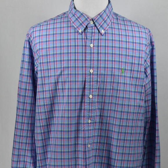 Ralph Lauren Other - Ralph Lauren MensCustomFit Blue/Pink Plaid LSS XXL